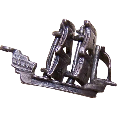 Vintage STERLING SILVER Mechanical Charm - Spanish Galleon!