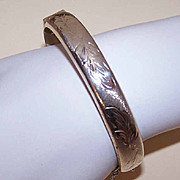 Dated 1972 ENGLISH Sterling Silver Hinged Bangle Bracelet!