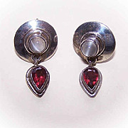 Vintage SAJEN Sterling Silver, Moonstone & Garnet Drop Earrings!