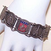 Vintage PARIS SOUVENIR Silverplate & Enamel Link Bracelet!