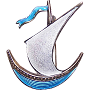 Vintage STERLING SILVER & Enamel Pin/Brooch by Ivar Holth, Norway!