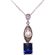 Vintage 18K Gold, Diamond, Cultured Pearl & Blue Spinel Lavaliere Necklace