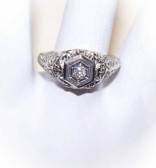 ART DECO 18K Gold & .12CT Diamond Engagement Ring