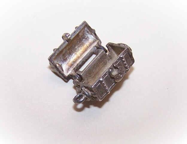 Vintage STERLING SILVER Mechanical Charm - Pirate's Treasure Chest!