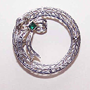 ART DECO Rhodium Finish & Glass Paste Filigree Pin/Brooch!
