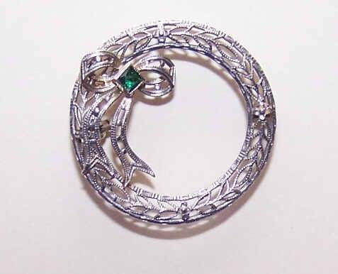 ART DECO Rhodium Finish & Glass Paste Filigree Pin/Brooch!