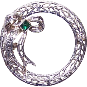 ART DECO Rhodium Finish Metal & Glass Paste Filigree Pin - Round with a Bow