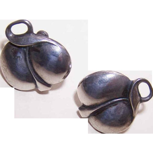 Retro Modern STERLING SILVER Screwback Earrings - Stylized Leaf