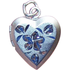 Vintage STERLING SILVER Locket Charm - Heart with Engraving!