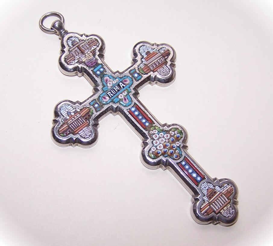 Vintage ITALIAN Silver Tone & Micromosaic Cross Pendant