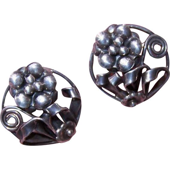 Retro Modern STERLING SILVER Screwback Earrings - Stylized Floral Fronts!