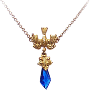 Upcycled EDWARDIAN FRENCH Gold Filled Saint Esprit (Dove of Peace) Pendant Necklace!