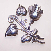1950s STERLING SILVER Retro Modern Floral Pin/Brooch