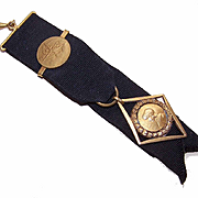 C.1900 FRENCH 18K Gold Filled Watch Fob Ribbon with Joan of Arc Medal!
