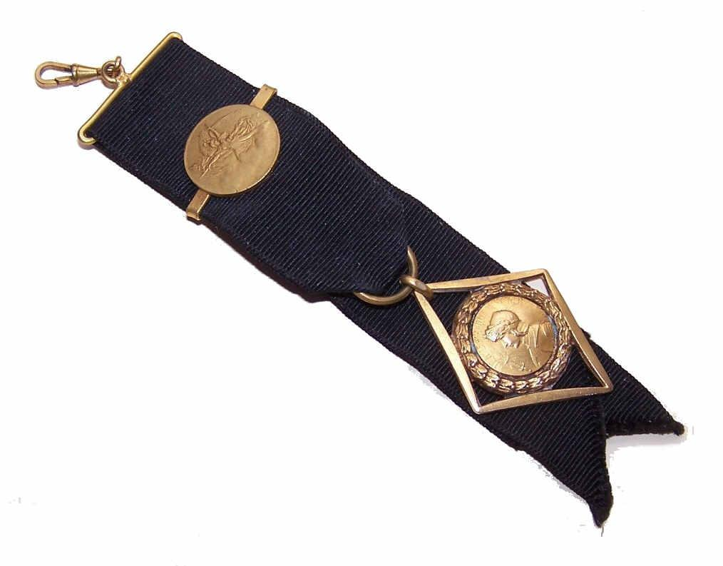 C.1900 FRENCH Gold Filled Watch Fob Ribbon with Joan of Arc Medal*