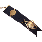 C.1900 FRENCH Black Grosgrain Ribbon & 18K Gold Filled Watch Fob - Joan of Arc Findings!