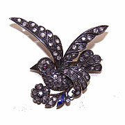 Vintage 14K Gold, Silver & 2CT TW Rose Cut Diamond Pin/Brooch - Dove of Peace!