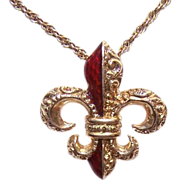 ANTIQUE VICTORIAN 14K Gold & Red Enamel Pendant - French Fleur de Lis!