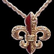 ANTIQUE VICTORIAN 14K Gold & Red Enamel Pendant - French Fleur de Lis!