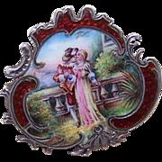 "ANTIQUE VICTORIAN Silver & Enamel ""Two Sweethearts"" Pin/Brooch!"