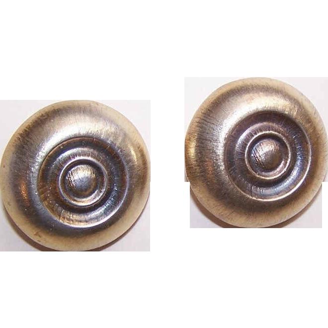Vintage STERLING SILVER Vermeil Clip Back Earrings by Zacca, Peru!