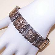 Vintage MEXICAN Sterling Silver & Gold Vermeil Link Bracelet!