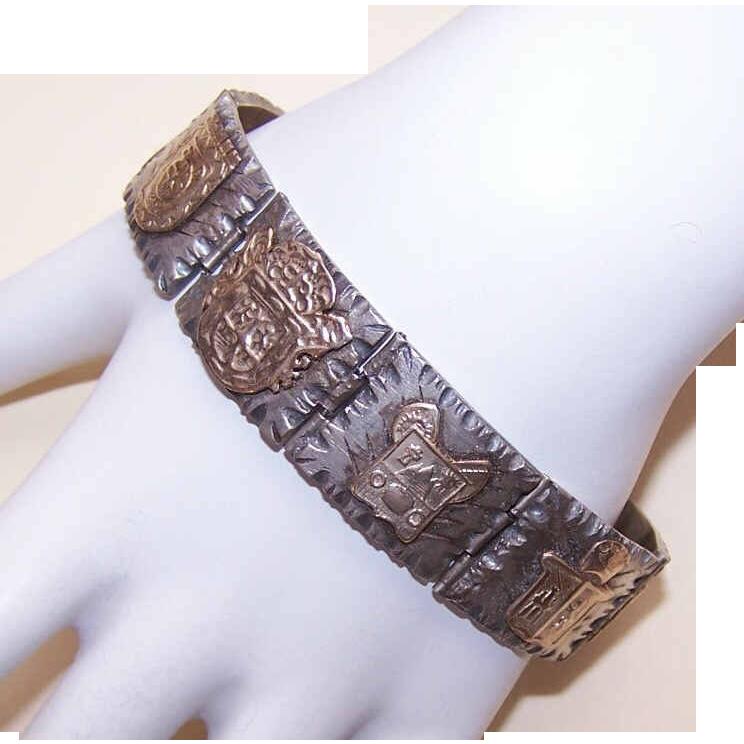 Vintage MEXICAN Sterling Silver & Gold Vermeil Link Bracelet
