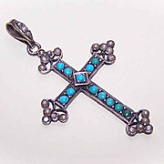 ANTIQUE VICTORIAN French Silver, Turquoise & Natural Pearl Cross Pendant!
