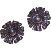 Vintage STERLING SILVER Screwback Earrings - Large Floral Rounds!