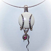 RETRO MODERN Sterling Silver & Garnet Pendant on Chain!