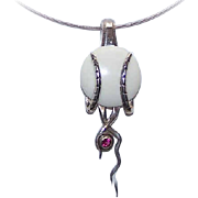RETRO MODERN Sterling Silver & Garnet Pendant on Chain - Lovely Necklace!