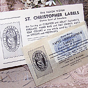 Unique C.1949 Set/5 ST. CHRISTOPHER Fine Rayon Labels for Clothing