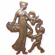 ANTIQUE EDWARDIAN Brass Colored Lapel Pin - Greek/Roman Lady with Playful Child