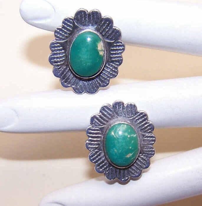FRED HARVEY Era Sterling Silver & Turquoise Earrings!