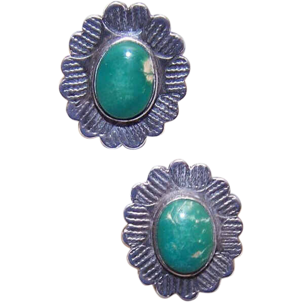 C.1960 FRED HARVEY Era Native American Sterling Silver & Turquoise Earrings
