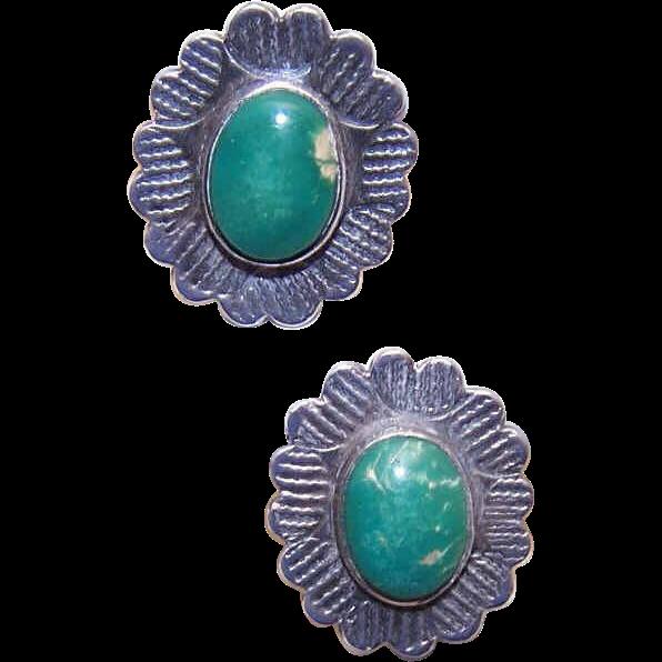 FRED HARVEY Era Sterling Silver & Turquoise Earrings!