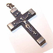 Vintage FRENCH Silverplate & Ebony Crucifix!