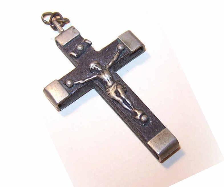 Vintage FRENCH Silverplate & Ebony Crucifix/Rosary Crucifix!