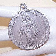 Vintage Religious Medal  of Aluminum - Holy Virgin Mary. and Child