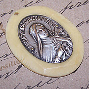 Vintage FRENCH CELLULOID & Silver Plate Religious Medal/Pendant - Saint Theresa!