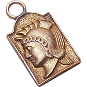 Vintage GOLD FILLED Medal or Charm - Greek, Roman or Trojan Soldier!
