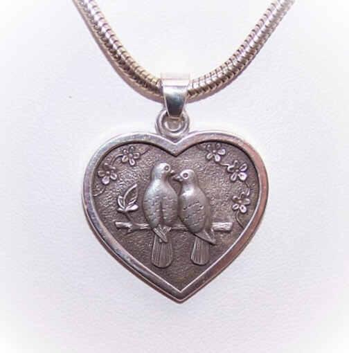 Adorable STERLING SILVER Heart Pendant with Two Turtle Doves by Kurt Morrison
