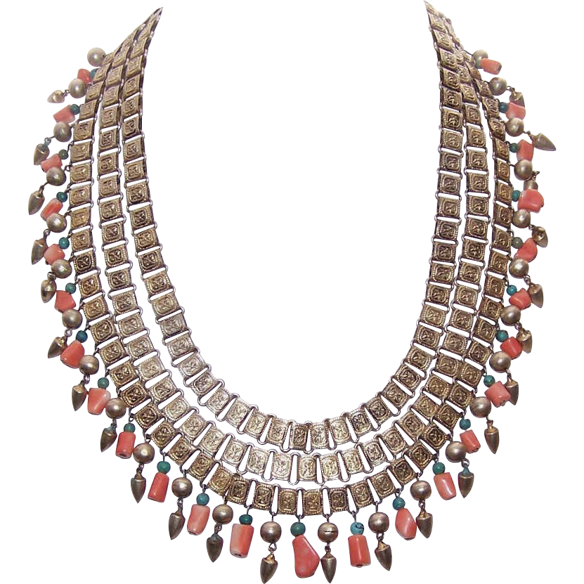 Vintage Triple Strand CHINA SILVER/Silverplate, Coral & Turquoise Fringe Necklace!