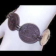 Vintage COIN SILVER Sweetheart Bracelet - Australian Coins
