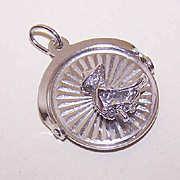 Vintage STERLING SILVER Spinner Charm by Crea - Colorado Gold Panner!