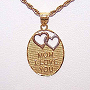 "Vintage STERLING SILVER Vermeil Pendant ""Mom, I Love You""!"