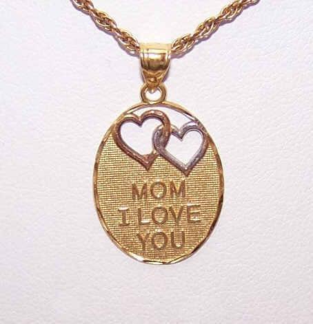 """Vintage STERLING SILVER Vermeil Pendant """"Mom, I Love You""""!"""