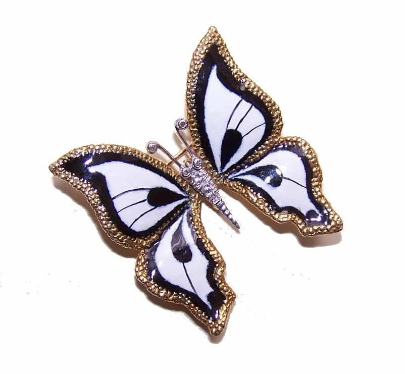 ESTATE 18K Gold, Enamel & .10CT TW Diamond Pin/Brooch/Pendant - Black & White BUTTERFLY!