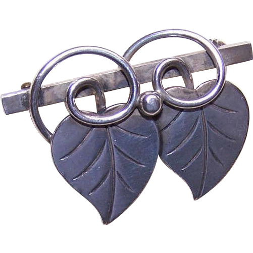 Alphonse LaPaglia for GEORG JENSEN USA Sterling Silver Pin - Double Leaves
