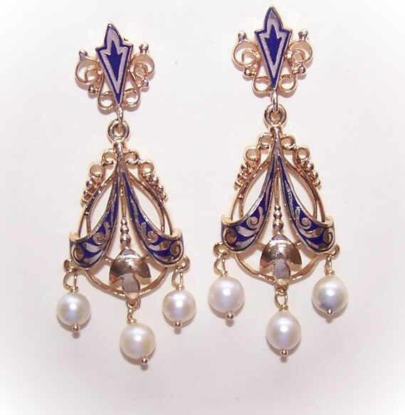 VICTORIAN REVIVAL 14K Gold, Enamel & Cultured Pearl Drop Earrings!